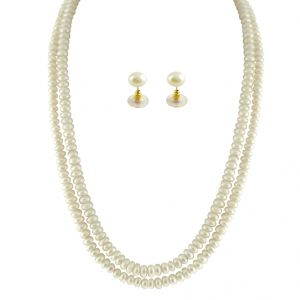 jagdamba,kalazone,jpearls,shonaya Necklaces (Imitation) - JPEARLS 2 STRING WHITE PEARL SET