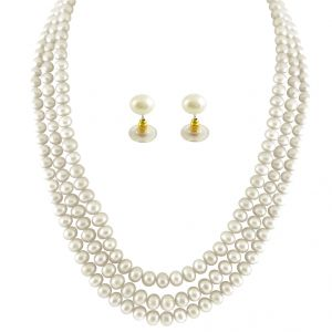 jagdamba,avsar,lime Fashion, Imitation Jewellery - JPEARLS 3 STRING WHITE PEARL SET