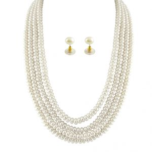 rcpc,kalazone,jpearls,surat diamonds Necklaces (Imitation) - JPEARLS 4 STRING WHITE PEARL SET