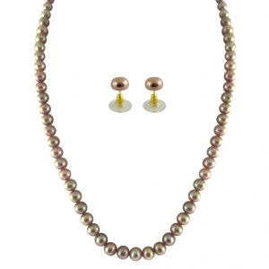triveni,platinum,jagdamba,surat tex,ag Necklaces (Imitation) - JPEARLS SINGLE LINE PEACH PEARL SET