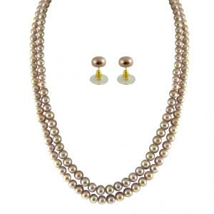 triveni,lime,flora,clovia,jpearls,asmi Necklaces (Imitation) - JPEARLS 2 STRING PEACH PEARL SET