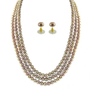 triveni,jagdamba,ag,bikaw,flora,surat diamonds Necklaces (Imitation) - JPEARLS 3 STRING PEACH PEARL SET