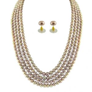 rcpc,kalazone,jpearls,surat diamonds Necklaces (Imitation) - JPEARLS 4 STRING PEACH PEARL SET