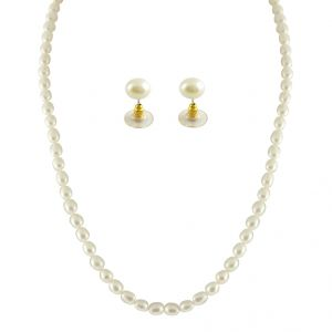triveni,platinum,jagdamba,flora Necklaces (Imitation) - JPEARLS 1 LINE OVAL PEARL NECKLACE
