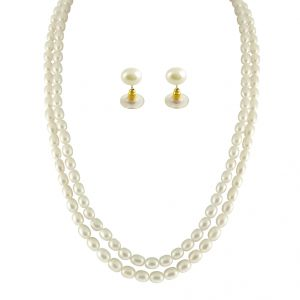 triveni,pick pocket,jpearls,surat diamonds,jpearls,port Necklaces (Imitation) - JPEARLS 2 STRING OVAL PEARL NECKLACE