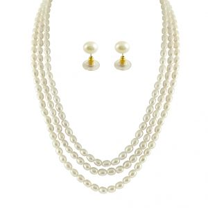 jagdamba,clovia,sukkhi,the jewelbox,jharjhar,lime Necklaces (Imitation) - JPEARLS 3 STRING OVAL PEARL NECKLACE
