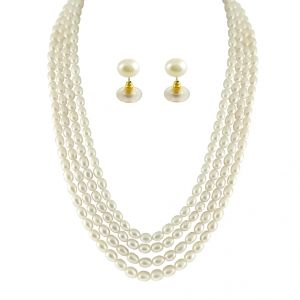 rcpc,ivy,soie,cloe,jpearls,Surat Diamonds Necklaces (Imitation) - JPEARLS 4 STRING OVAL PEARL NECKLACE