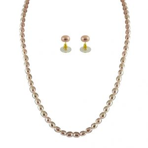 triveni,platinum,jagdamba,flora Necklaces (Imitation) - JPEARLS SINGLE LINE PEACH PEARL SET