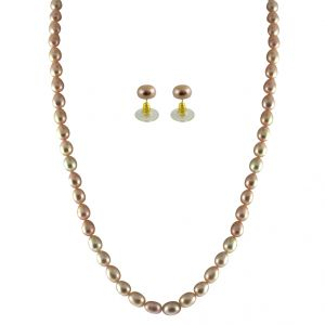 triveni,platinum,jagdamba,ag,pick pocket Necklaces (Imitation) - JPEARLS SINGLE LINE PINK PEARL SET