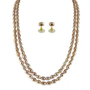 triveni,pick pocket,jpearls Necklaces (Imitation) - JPEARLS 2 STRING PEACH PEARL SET