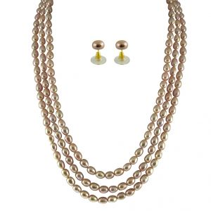 jagdamba,clovia,vipul,ag,unimod Necklaces (Imitation) - JPEARLS 3 STRING PEACH PEARL SET
