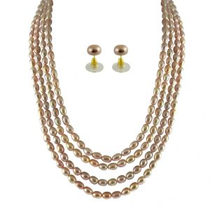 diya,m tech,jpearls Fashion, Imitation Jewellery - JPEARLS 4 STRING PEACH PEARL SET