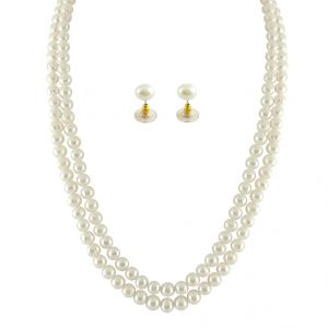 Jpearls 2 String White Pearl Set