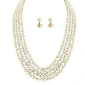 jagdamba,kalazone,jpearls,shonaya Necklaces (Imitation) - JPEARLS 4 STRING WHITE PEARL SET