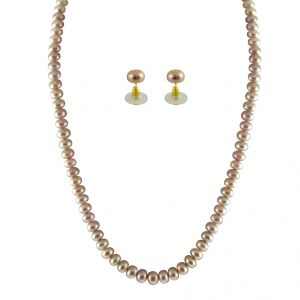 jpearls,kalazone,parineeta,surat diamonds Necklaces (Imitation) - JPEARLS SINGLE LINE PINK PEARL SET