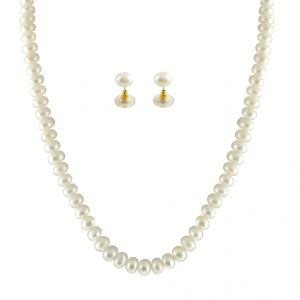 jpearls,kalazone,parineeta,surat diamonds Necklaces (Imitation) - JPEARLS SINGLE LINE WHITE PEARL SET