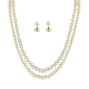 jagdamba,surat diamonds,valentine,jharjhar,asmi,tng Necklaces (Imitation) - JPEARLS 2 STRING WHITE PEARL SET