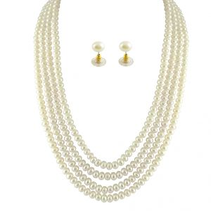 jagdamba Fashion, Imitation Jewellery - JPEARLS 4 STRING WHITE PEARL SET