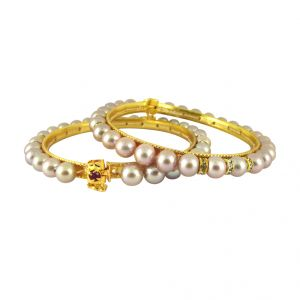 Jagdamba,Avsar,Lime,Valentine,Surat Diamonds Women's Clothing - Sri Jagdamba Pearls Pink Cz Button Pearl Bangles ( SJPJL-491_2018 )