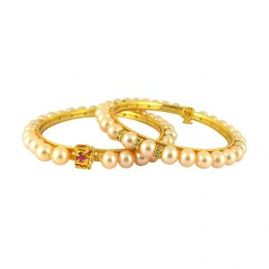 Jpearls Peach Color Button Pearl Bangles - Sjpjl-493