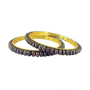 Hoop,Shonaya,Arpera,The Jewelbox,Gili,Jagdamba,Parineeta,Pick Pocket Women's Clothing - Sri Jagdamba Pearls Grey Button Pearl Bangles ( SJPJL-494_2018 )