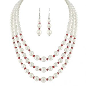 Jpearls 3 String White Pearl Necklace Set - Sjpjn-225