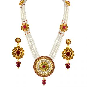 triveni,tng,jagdamba,jharjhar,surat diamonds,arpera Necklace Sets (Imitation) - Sri Jagdamba Pearls Splendid Rani Haar ( SJPJN-230 )