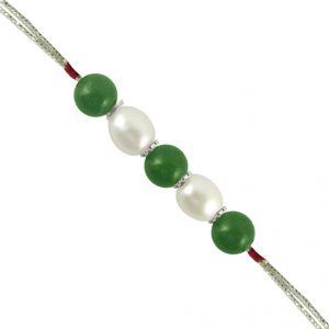 Rakhis & Gifts (India) - Sri Jagdamba Pearls Green Stone Pearl Rakhi Code SJPJN-277A
