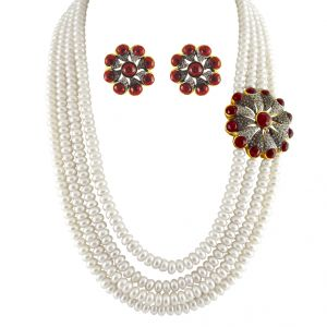triveni,tng,jagdamba,see more,flora,mahi Pearl Jewellery Sets - JPEARLS PRINCESS PEARL NECKLACE