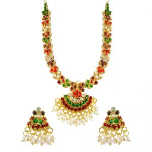 jagdamba,avsar,lime,kiara,hoop,estoss Necklace Sets (Imitation) - Sri Jagdamba Pearls Colourful Necklace Set ( SJPVD-931 )