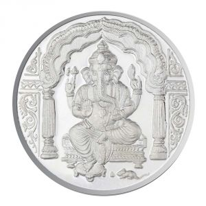 Asmi,Jagdamba,Sukkhi,Port,M tech,Diya,Karat Kraft Jewellery - Jpearls 100 Grams Ganesh Silver Coin 99.9 % Purity