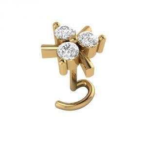 Nose pins & nose rings - Sri Jagdamba Pearls 3 Stone Diamond Nose Pin-VANP 1038