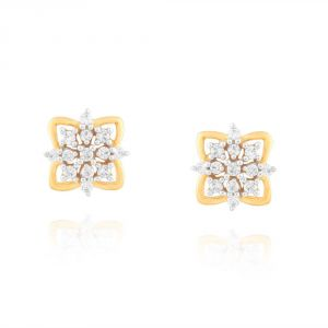 Hoop,Shonaya,Soie,Vipul,Kalazone,La Intimo,Sangini,Gili Women's Clothing - Sangini Yellow Gold Diamond Earrings PRA1E3449SI-JK18Y