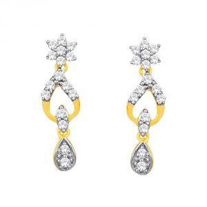 Nakshatra Yellow Gold Diamond Earrings DDE02171SI-JK18Y