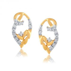 Hoop,Shonaya,Arpera,Tng,Sangini Women's Clothing - Sangini Yellow Gold Diamond Earrings PE13134SI-JK18Y