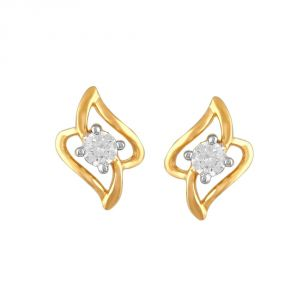 Soie,Flora,Oviya,Asmi,Estoss Women's Clothing - Asmi Yellow Gold Diamond Earrings PE19468SI-JK18Y