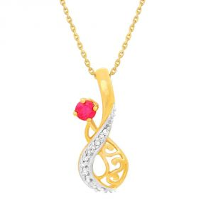 Sangini Diamond Pendants, Sets - Sangini Yellow Gold Diamond Pendant KIP00003SI-JK18Y