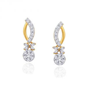 Nirvana Yellow Gold Diamond Earrings Nera427si-jk18y