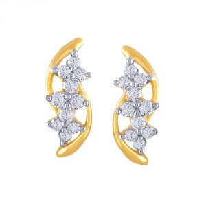 Hoop,Asmi,Kalazone Women's Clothing - Asmi Yellow Gold Diamond Earrings FE115SI-JK18Y