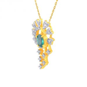 Triveni,Pick Pocket,Parineeta,Mahi Women's Clothing - Parineeta Yellow Gold Diamond Pendant PP18601SI-JK18Y