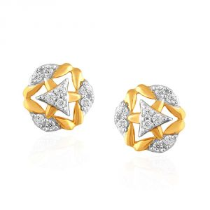 Vipul,Port,Fasense,Triveni,Jagdamba,Sangini,Cloe Women's Clothing - Sangini Yellow Gold Diamond Earrings PE21247SI-JK18Y