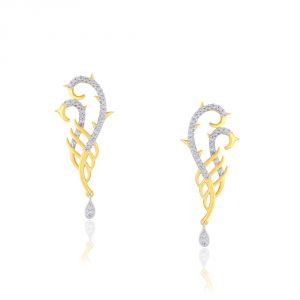 Kiara,Fasense,Flora,Jharjhar,Sangini,Estoss Diamond Jewellery - Sangini Yellow Gold Diamond Earrings IDE00766SI-JK18Y