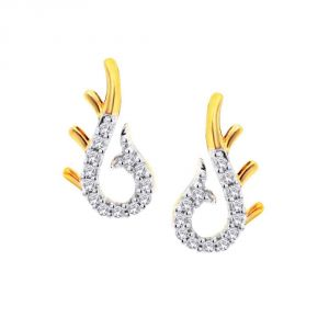 Hoop,Unimod,Kiara,Oviya,Bikaw,Sangini,Kalazone Women's Clothing - Sangini Yellow Gold Diamond Earrings IDE00748SI-JK18Y