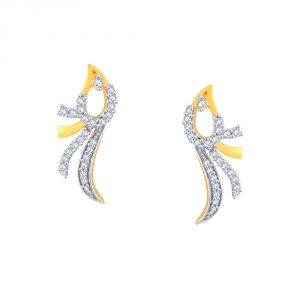 Asmi,Platinum,Kiara,Vipul,Kaamastra Women's Clothing - Asmi Yellow Gold Diamond Earrings OE671SI-JK18Y