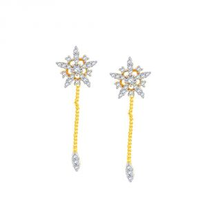 Triveni,La Intimo,Fasense,Gili,Arpera,Jharjhar Women's Clothing - Gili Yellow Gold Diamond Earrings APSE0804SI-JK18Y