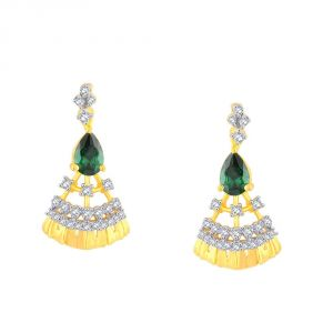 Hoop,Shonaya,Parineeta,Kaamastra Women's Clothing - Parineeta Yellow Gold Diamond Earrings BAEP010SI-JK18Y