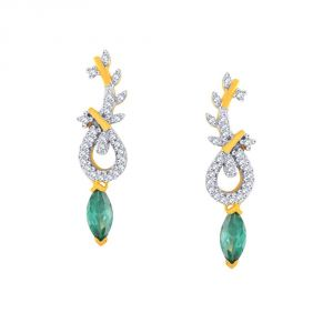 Triveni,Platinum,Port,Kalazone,See More,Parineeta,Hoop Women's Clothing - Parineeta Yellow Gold Diamond Earrings PE18939SI-JK18Y