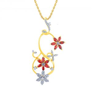 Vipul,Oviya,Kaamastra,Parineeta,Port,Shonaya,Soie Women's Clothing - Parineeta Yellow Gold Diamond Pendant BAP109SI-JK18Y