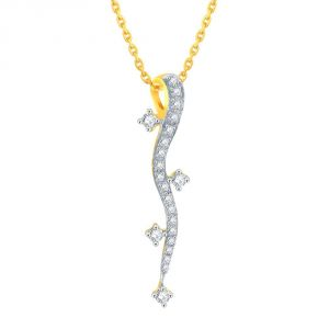 Lime,Surat Tex,Soie,Jagdamba,Sangini,Triveni,Oviya,Bikaw,Estoss Women's Clothing - Sangini Yellow Gold Diamond Pendant DNP386SI-JK18Y