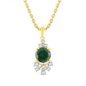 Hoop,Shonaya,Parineeta,Kaamastra Women's Clothing - Parineeta Yellow Gold Diamond Pendant PRAN3P2623SI-JK18Y